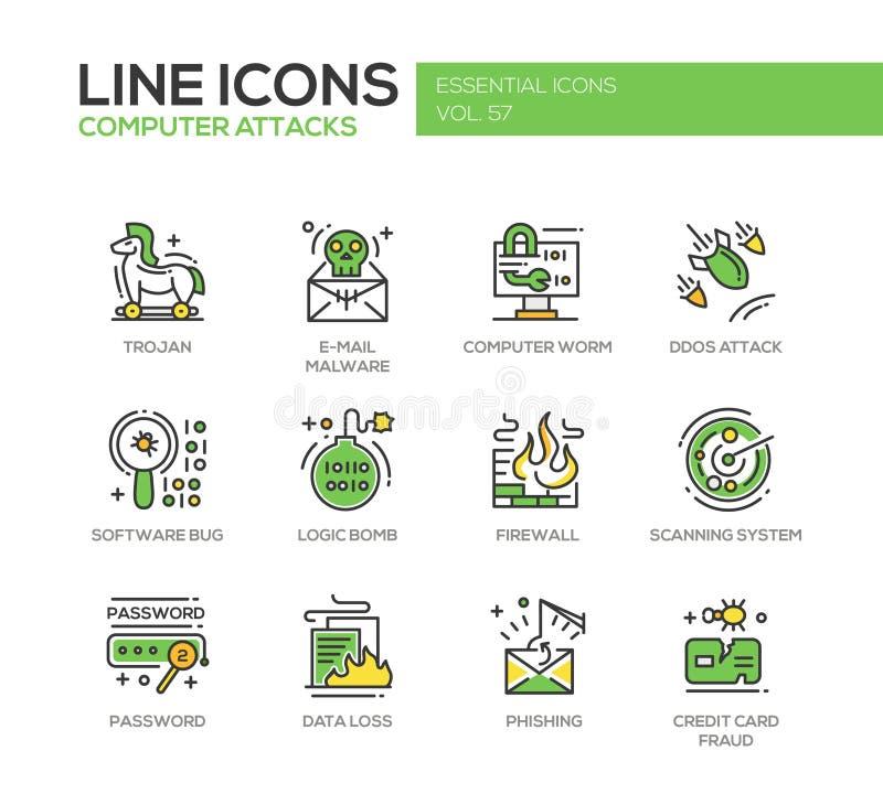 Computer-Angriffe - Linie Designikonen eingestellt lizenzfreie abbildung