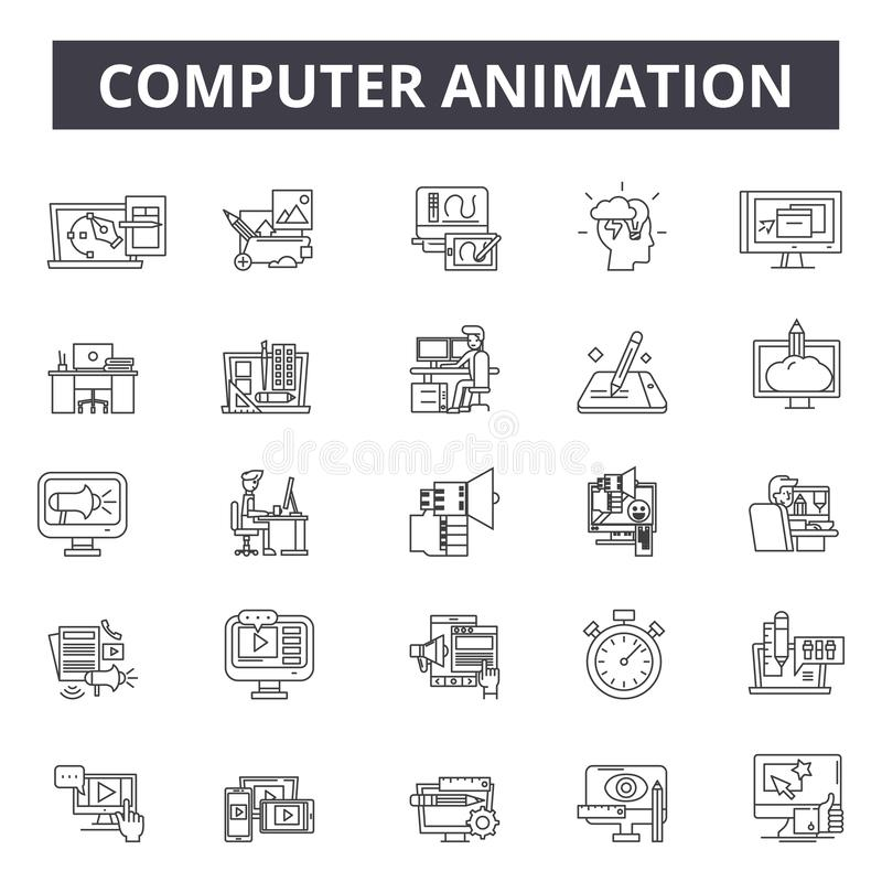 Computer animation line icons, signs, vector set, outline illustration concept stock illustration