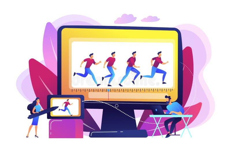 Computer-Animations-Konzept-Vektorillustration lizenzfreie abbildung