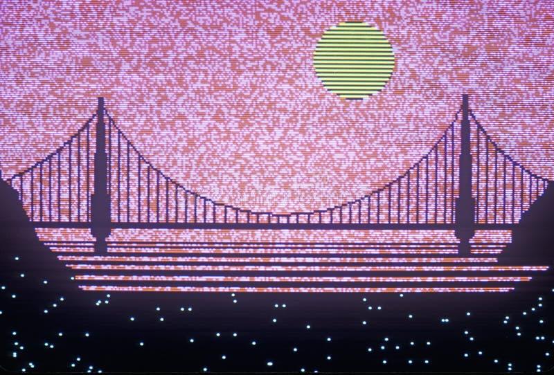Computer-Animations-Wiedergabe der Bucht-Brücke, San Francisco, Kalifornien stockfotografie