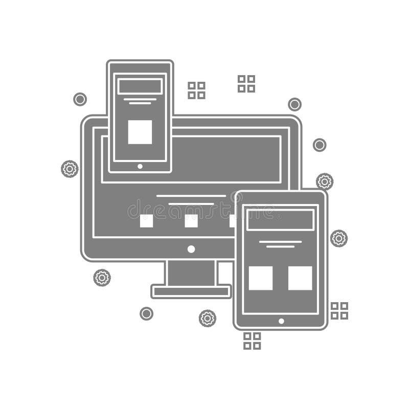 Computer, Anzeige, Mobile, Monitorikone Element von popicon für bewegliches Konzept und Netz Appsikone Glyph, flache Ikone für We lizenzfreie abbildung