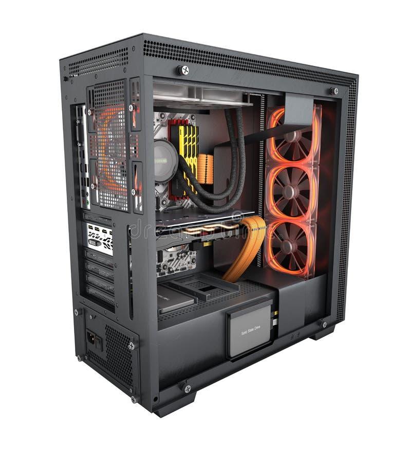 Computer aperto con gli effetti di luce rossa ed il sistema di raffreddamento raffreddato ad acqua su fondo bianco 3d rendere sen illustrazione di stock