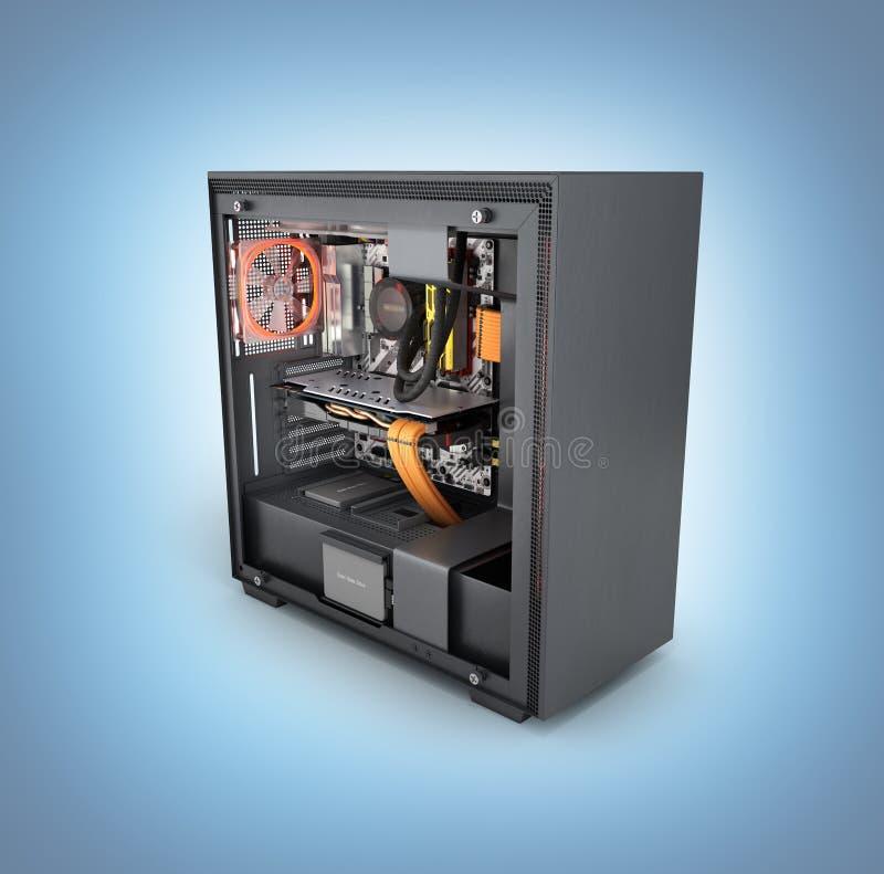 Computer aperto con gli effetti di luce rossa ed il sistema di raffreddamento raffreddato ad acqua sul fondo blu 3d di pendenza r royalty illustrazione gratis