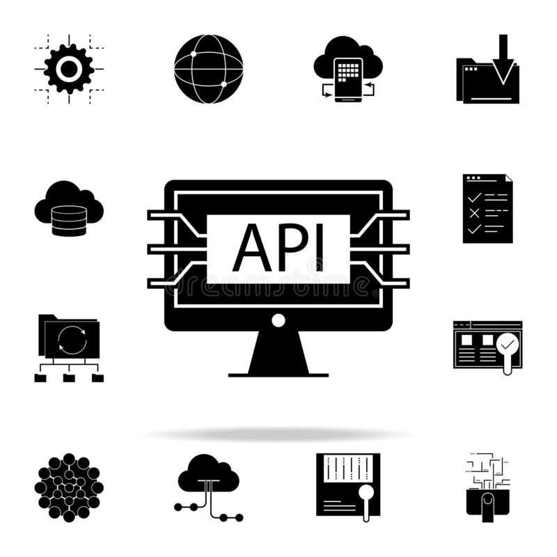 computer api interface icon. Web Development icons universal set for web and mobile stock illustration