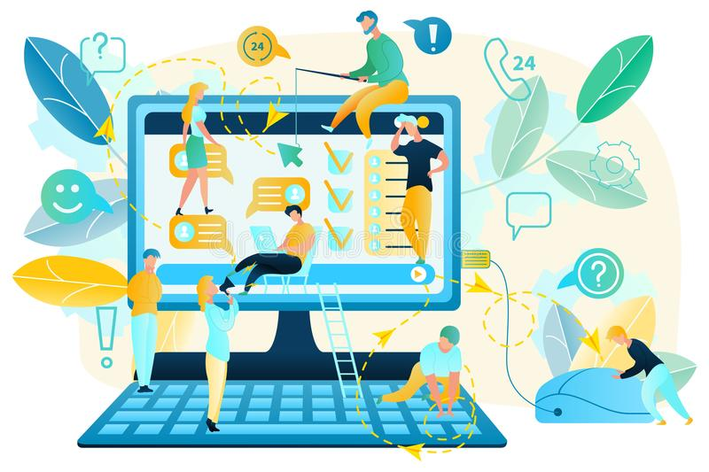 Computer App or Web Page Usability Testing Vector. Internet User Activity Habits Tracking Flat Vector Concept. Online Client Preferences Analysis and Prediction royalty free illustration