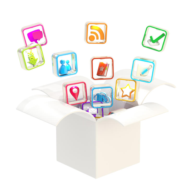 Download Computer Application Icons Inside Box Stock Illustration - Illustration of background, glossy: 25436743