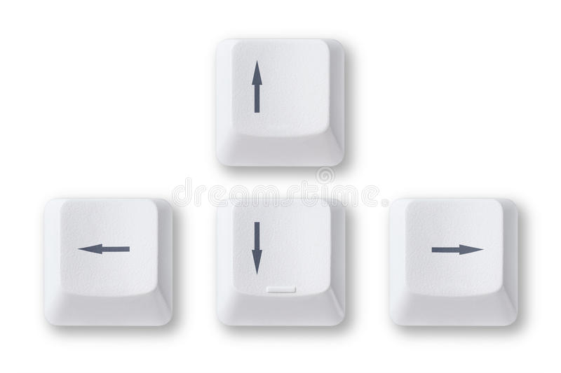 Computer arrow keys. Isolated on white background stock images