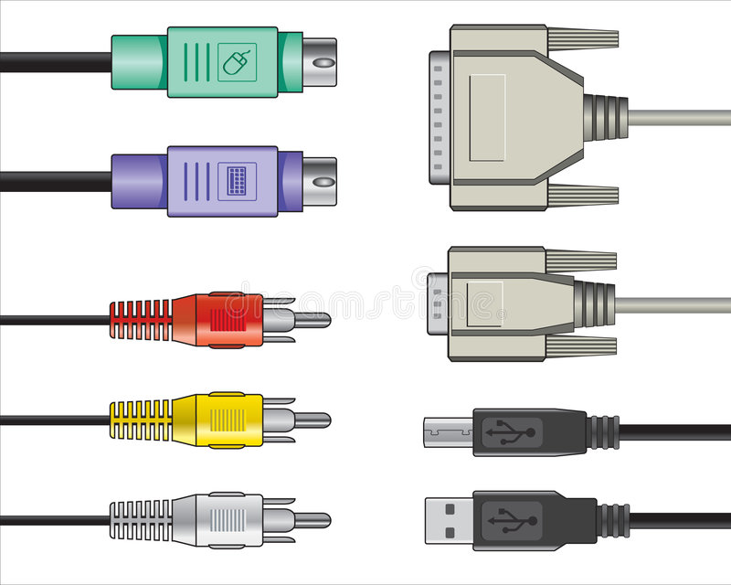 Computer audio video cables stock photography