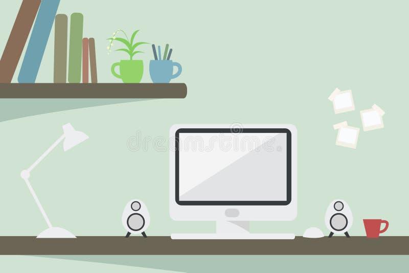Computer auf Schreibtisch vektor abbildung