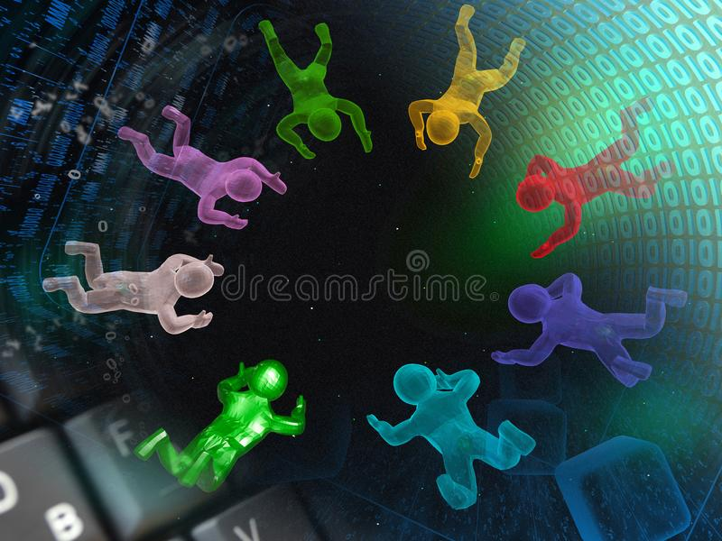 Computer business. Computer background with keys, mans and digits stock photo