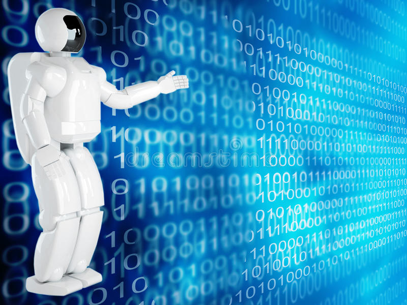 Computer background with robot vector illustration