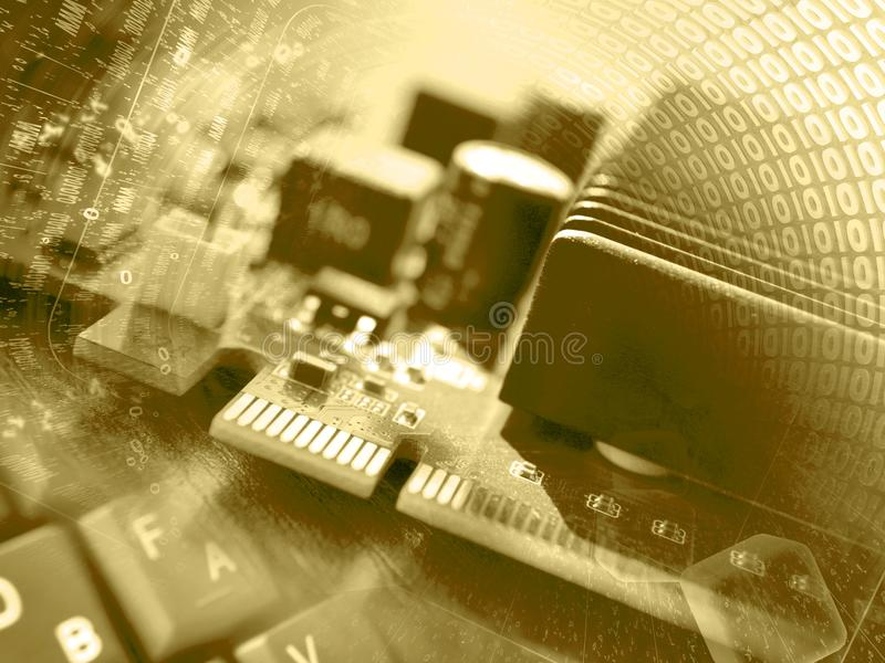 Computer background. In sepia with digits, electronic device and keyboard royalty free stock photography
