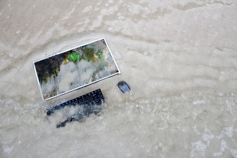 The computer on a beach with a coral reef images on the screen. stock images