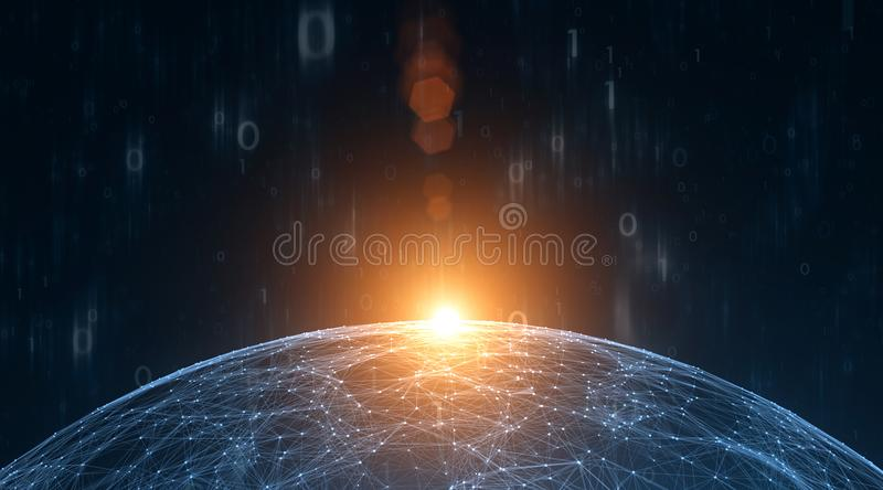 Computer binary numbers data with sunny network sphere. Artistic computer binary numbers data with sunny network sphere illustration background. View from space royalty free illustration