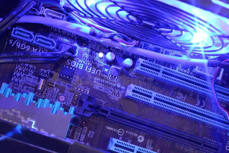 Computer binnen dichte omhooggaand stock foto's