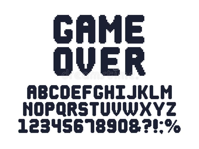 Computer 8 bit game font. Retro video games pixel alphabet, 80s gaming typography design and pixels letters vector set vector illustration