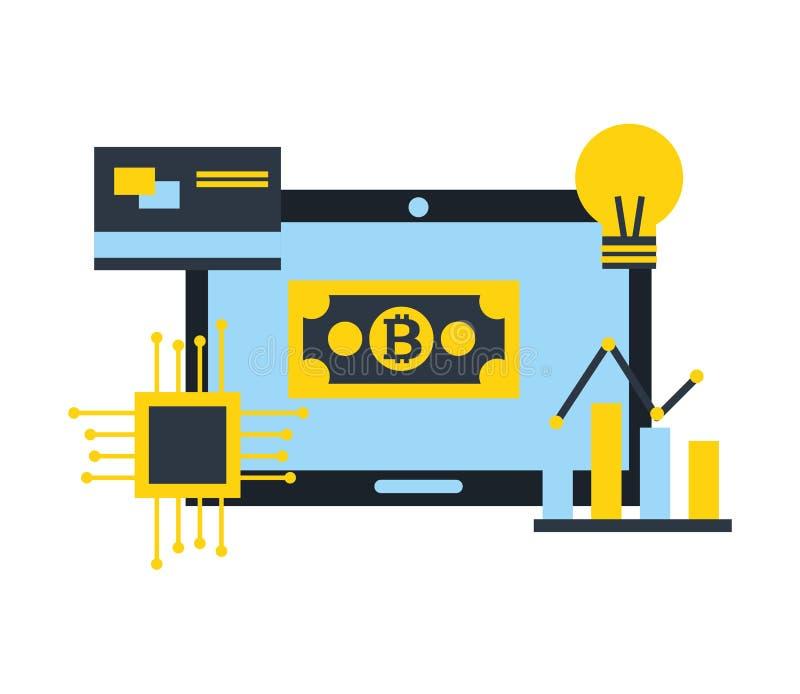 Computer bitcoin Kartendiagramm-Tablette fintech stock abbildung