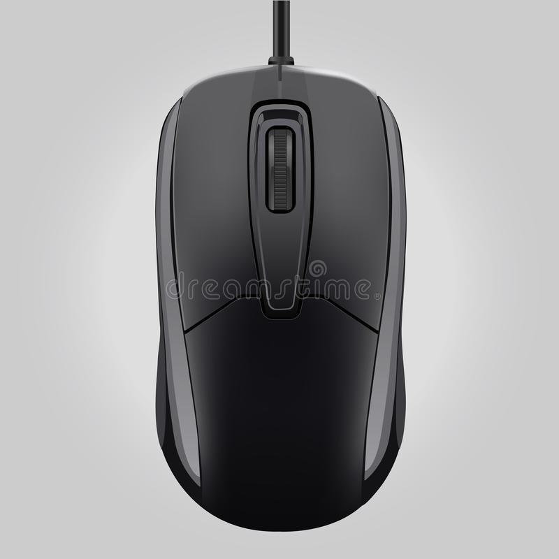 Computer black mouse with wheel isolated on gray background-vector illustration stock illustration