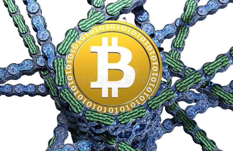 Computer blockchain met bitcoin op wit royalty-vrije illustratie