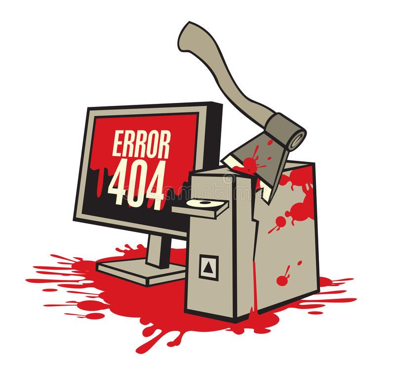 Computer in the blood. Vector illustration of a broken computer in the blood royalty free illustration