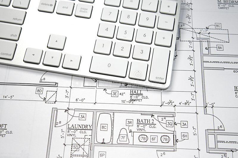 Computer Blueprint stock image