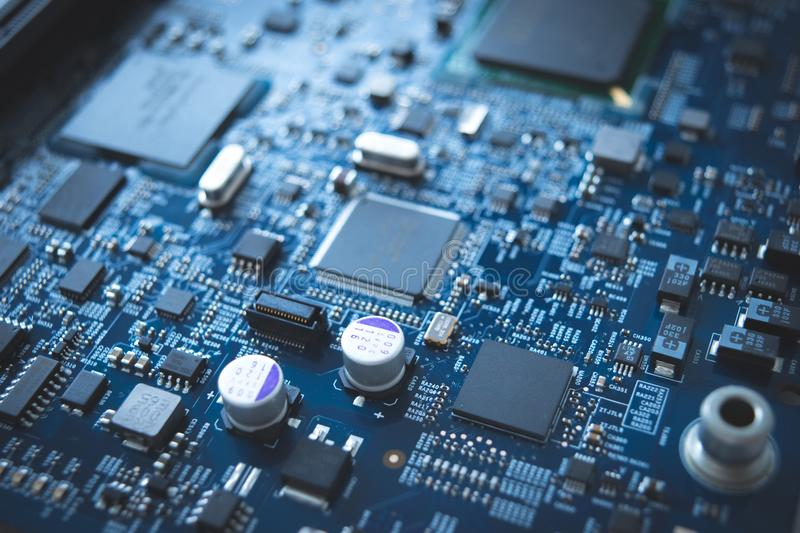 Computer board chip circuit cpu core blue technology background stock photos