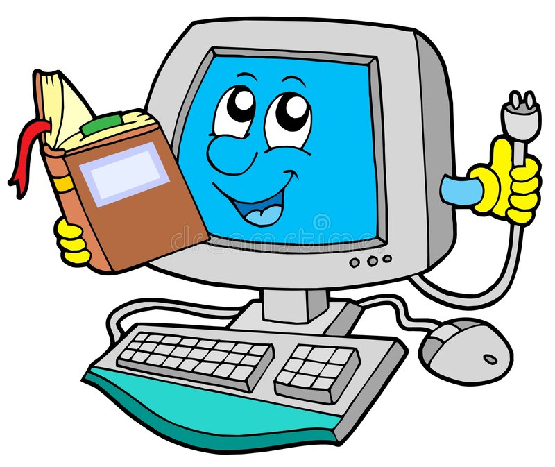 IT computer with book stock illustration