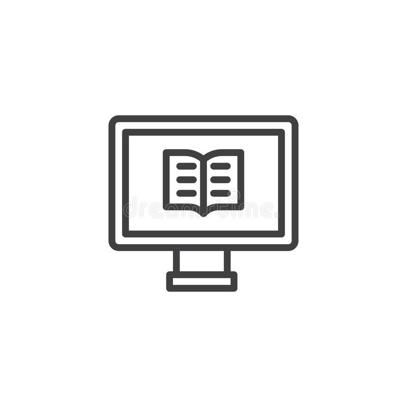 Computer with a book outline icon stock illustration
