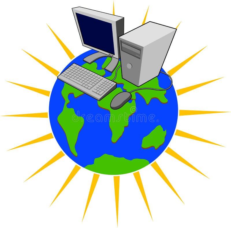 Computer bovenop wereld royalty-vrije illustratie