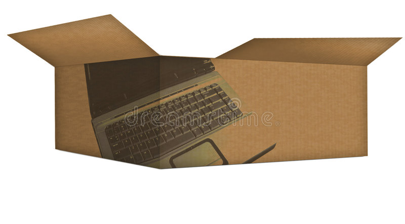 Computer Box. Corrugated brown box opened with computer labels royalty free illustration