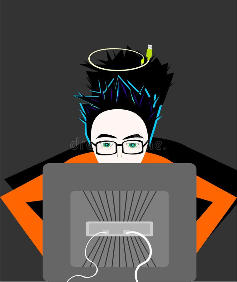 Computer Boy Royalty Free Stock Image
