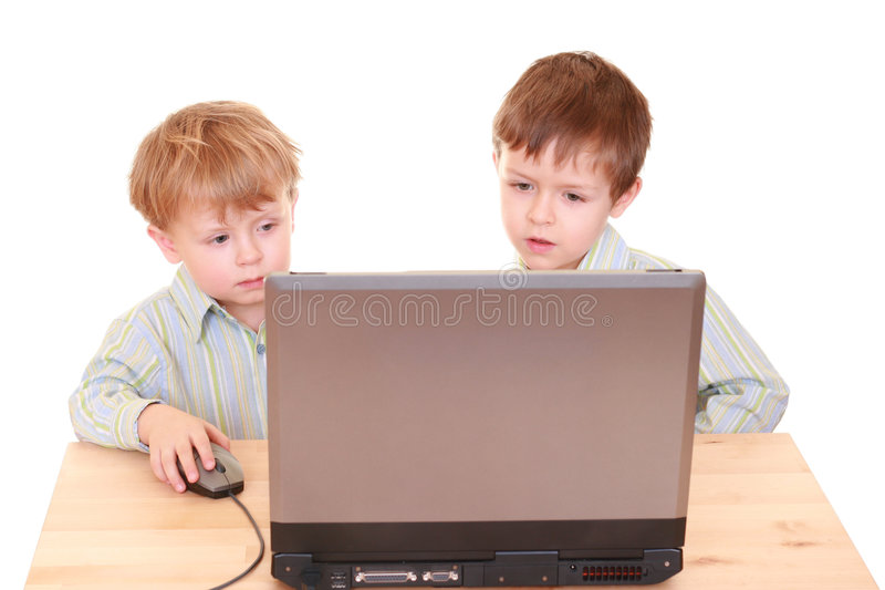 Computer boys royalty free stock photography