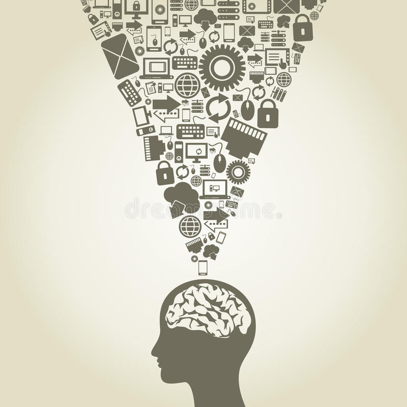 Computer a brain. The person thinks of the computer. A vector illustration stock illustration
