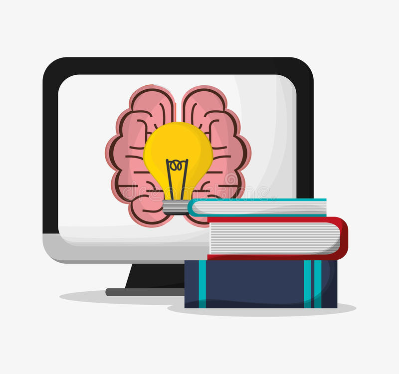 Computer brain bulb and books design royalty free illustration