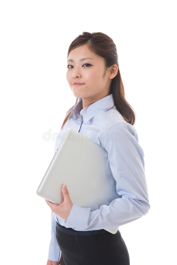 Computer and businesswoman stock photo