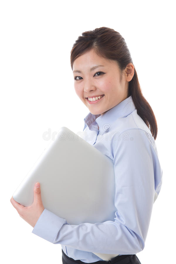 Computer and businesswoman royalty free stock photos