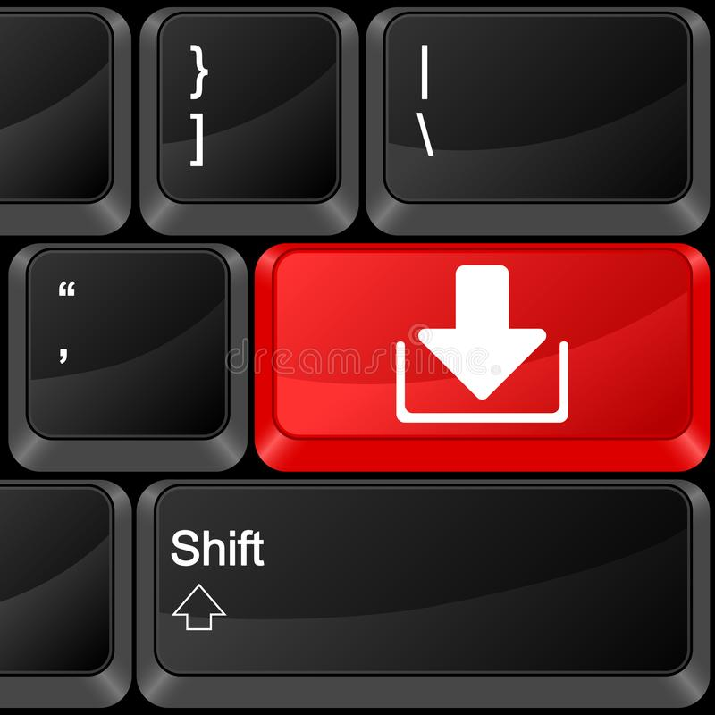 Computer button download. Keyboard computer button download. Vector illustration vector illustration