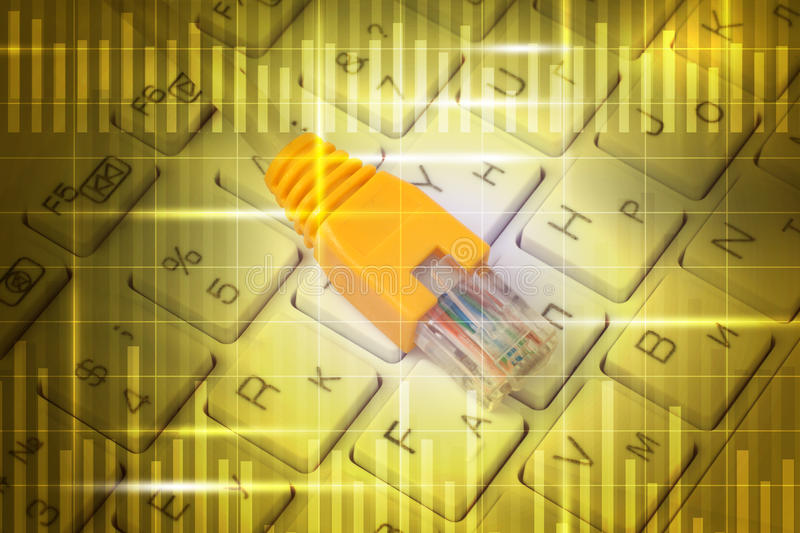Computer cable on keyboard stock illustration