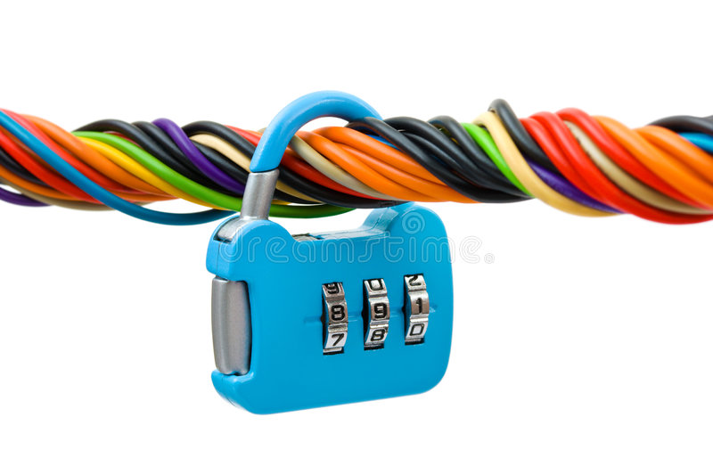 Download Computer Cable And Lock Stock Photo - Image: 8967310