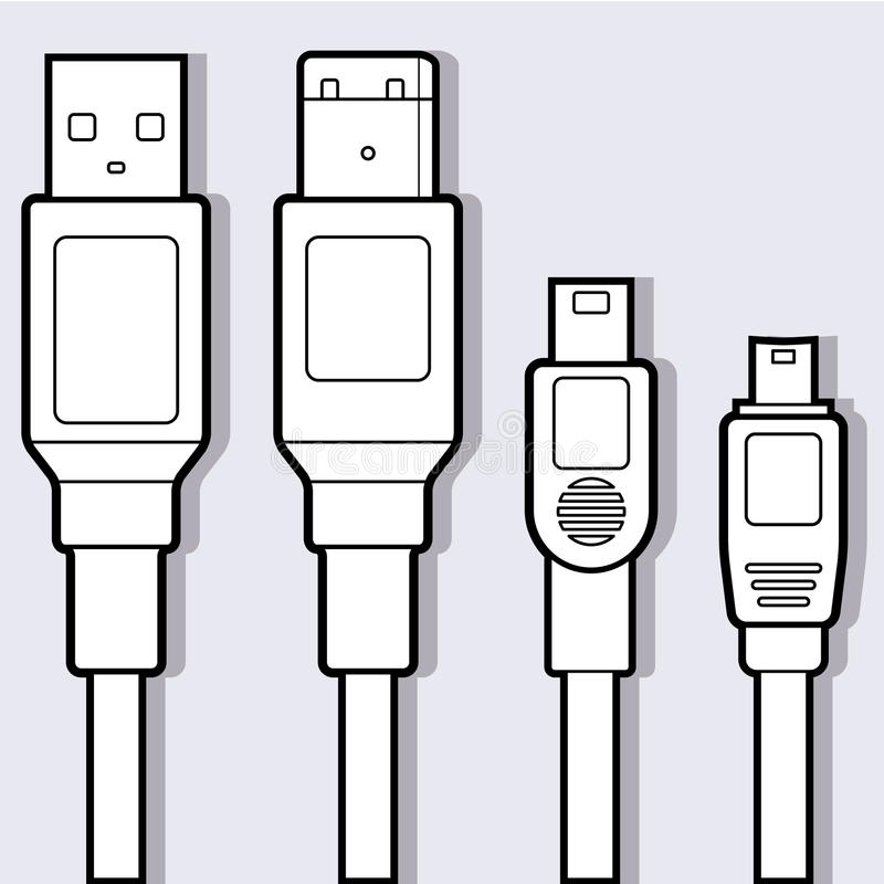 Computer Cables Diagram royalty free illustration