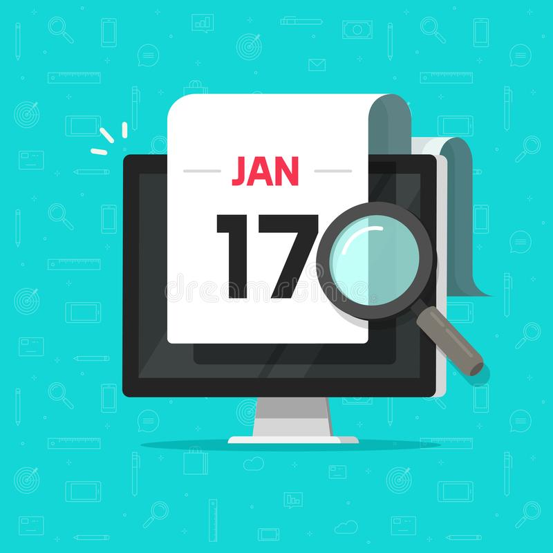 Computer with calendar date magnifier glass searching flat cartoon vector illustration, concept or digital pc organizer stock illustration