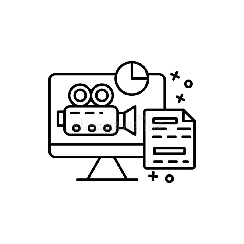 Computer, camera, document icon. Element of film Industry icon. On white background stock illustration