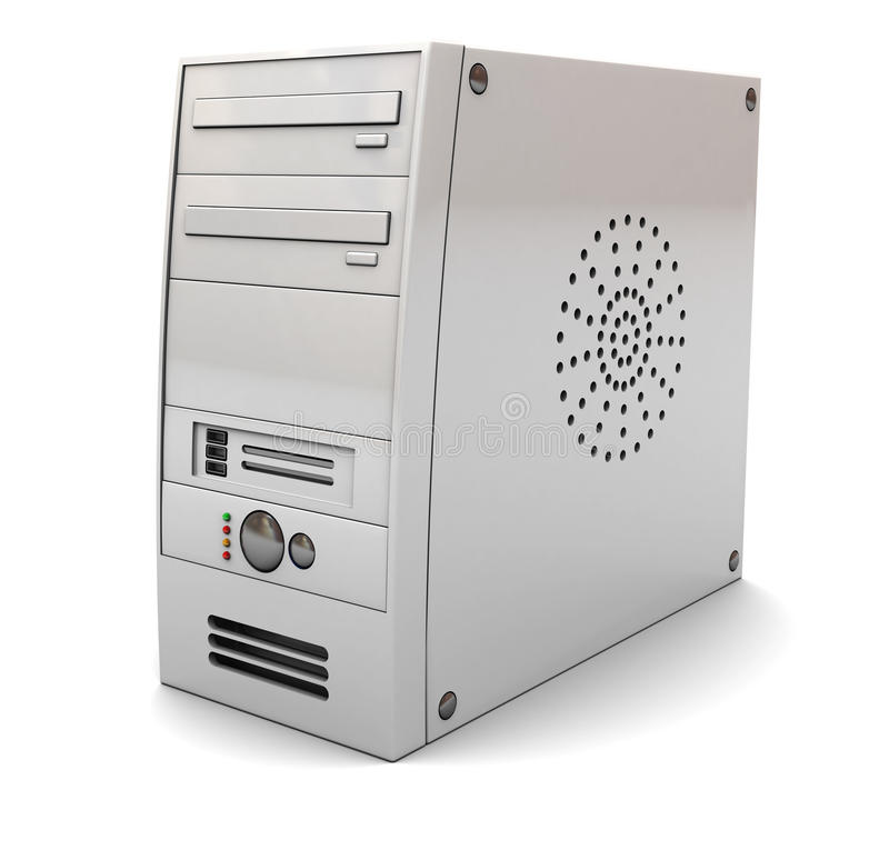 Computer case. 3d illustration of desktop computer case tower, over white background stock illustration