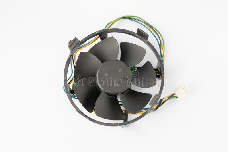 Computer case cooling fan with wire on a white background royalty free stock photography