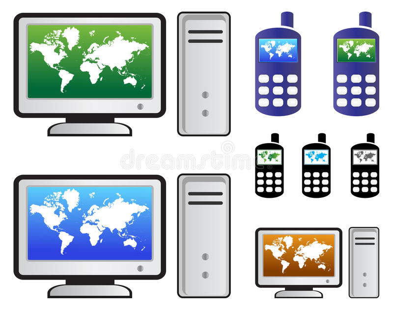Computer and cell. Illustration of computer and cell display on world map royalty free illustration