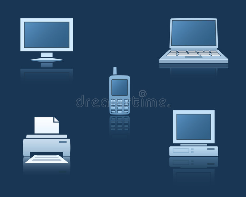 Computer, celtelefoon, printer vector illustratie