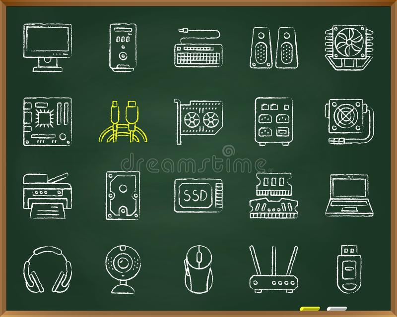 Computer chalk draw line icons vector set. Computer chalk icons set. Outline web sign kit of electronics. Computer linear icon collection includes usb, flash stock illustration
