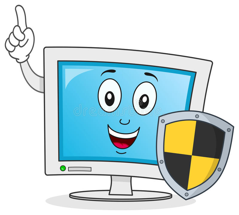 Computer Character with Shield Antivirus. A funny cartoon computer monitor character holding a black and yellow shield, isolated on white background. Antivirus royalty free illustration