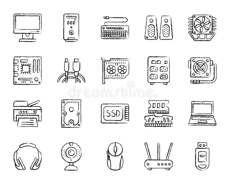 Computer charcoal draw line icons vector set. Computer charcoal icons set. Outline web sign kit of electronics. Gadget linear icon collection includes usb, flash royalty free illustration