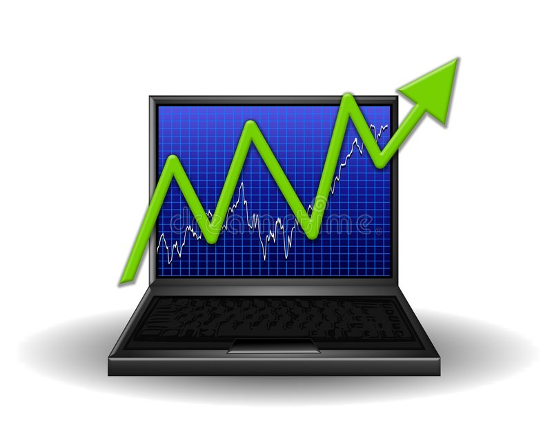 Computer Chart Gaining Profits vector illustration